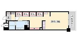 JR東海道・山陽本線 姫路駅 バス10分 元町3丁目下車 徒歩4分の賃貸マンション 8階ワンルームの間取り