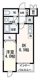 GranStrada八幡 4階1DKの間取り