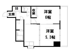 ライオンズマンション西陣南[3階]の間取り