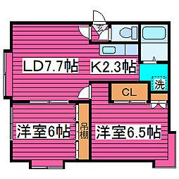 北海道札幌市北区篠路二条8丁目の賃貸アパートの間取り