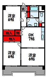 福岡県福津市花見が丘1丁目の賃貸マンションの間取り