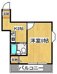 カザリヤマンションC[205号室]の間取り