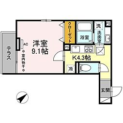D-room大塚帝京 1階1Kの間取り