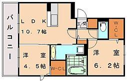 ソフィア新宮II B[2階]の間取り