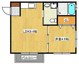 広島県広島市南区本浦町の賃貸アパートの間取り
