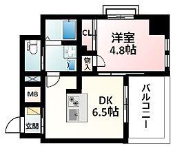 Osaka Metro御堂筋線 江坂駅 徒歩16分の賃貸マンション 8階1DKの間取り