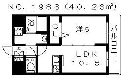 ジョワ天王寺[2B号室号室]の間取り