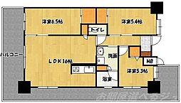 ウィングス三萩野[14階]の間取り