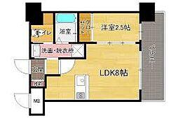 ドゥーエ赤坂 5階1LDKの間取り