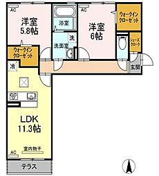 (仮称)D-room中吉野[106号室]の間取り