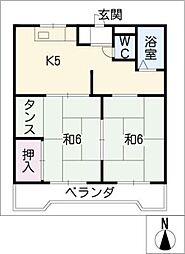 コーポ竹本B・C棟[3階]の間取り
