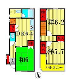 [テラスハウス] 千葉県松戸市古ヶ崎 の賃貸【千葉県 / 松戸市】の間取り