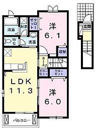 香川県東かがわ市松原の賃貸アパートの間取り