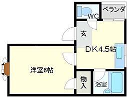レストルーフ191 3階1DKの間取り