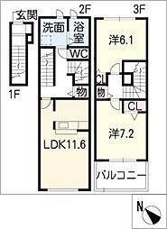 グランツ プランドール B棟[2階]の間取り