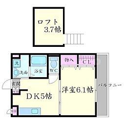 大阪府箕面市粟生新家1丁目の賃貸アパートの間取り