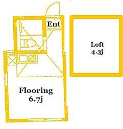 ユナイト大口エルベール 2階ワンルームの間取り