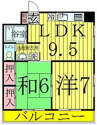 満寿田マンション[1階]の間取り