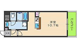 パークフロント福島 6階ワンルームの間取り
