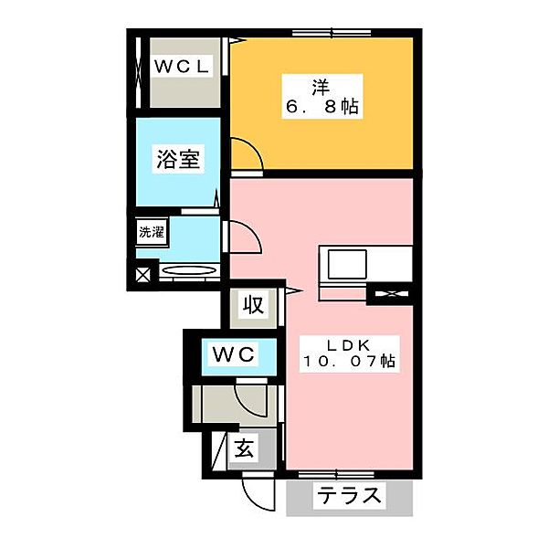 愛知県豊川市御津町広石越川の賃貸アパートの間取り