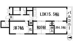 日興池田五月丘スカイマンション2号棟[3階]の間取り
