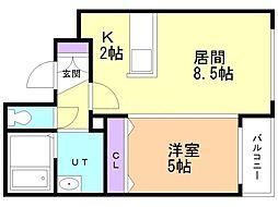 プレミアシティ札幌東 2階1LDKの間取り
