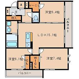 奈良県奈良市大森町の賃貸マンションの間取り
