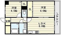 大阪府東大阪市長堂1丁目の賃貸マンションの間取り