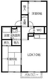 セジュール濱田III[1階]の間取り