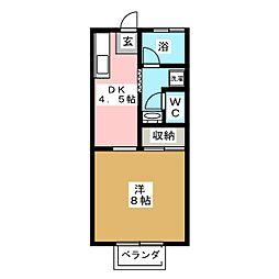 メゾンウィスタリア[1階]の間取り