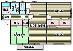 大阪府河内長野市中片添町の賃貸アパートの間取り