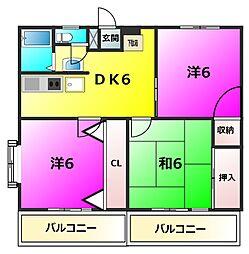 関町ファミリーマンション[603号号室]の間取り