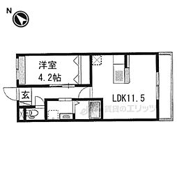 仮)京都市右京区西院西田町新築マンション 1階1LDKの間取り