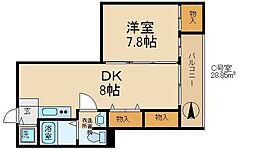 森小路矢野マンション 4階1DKの間取り