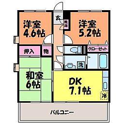 愛媛県松山市南江戸2丁目の賃貸アパートの間取り