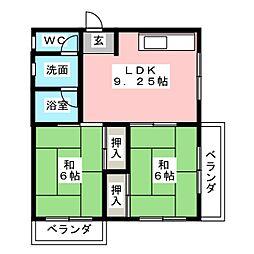 ベルメゾン豆田[2階]の間取り