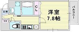 Osaka Metro谷町線 東梅田駅 徒歩5分の賃貸マンション 9階1Kの間取り