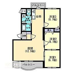 ボヌールレジデンスA棟[1階]の間取り