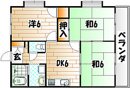 リッショウハイツ B棟[2階]の間取り