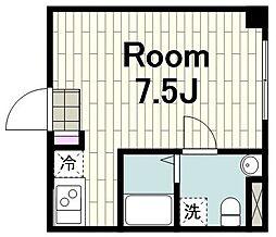 Infina横浜戸部 4階ワンルームの間取り