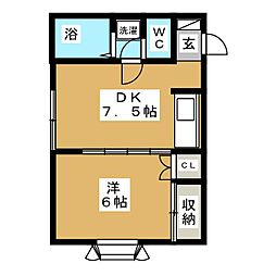 コーポサニーライフ片岡[2階]の間取り