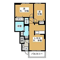 キャトルセゾンVA[1階]の間取り