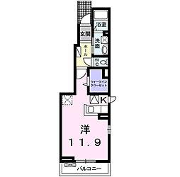 愛知県岡崎市小針町字城跡の賃貸アパートの間取り