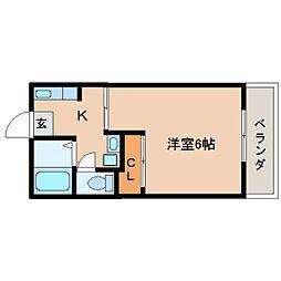JR関西本線 三郷駅 徒歩6分の賃貸マンション 2階1Kの間取り