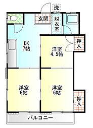 中島荘[E号室]の間取り