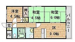 オルゴグラート東大阪[304号室]の間取り
