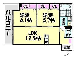 南海線 高石駅 徒歩14分の賃貸アパート 1階2LDKの間取り