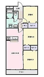 ボンジュールTakamachi[2C号室]の間取り