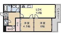 ビューハイツ京都山科[337号室号室]の間取り