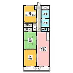 愛知県北名古屋市鹿田合田の賃貸マンションの間取り